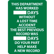 Write-On Scoreboard, This Department Has Worked Days Without A Lost Time Accident, 28 X 20, Wht/Grn
