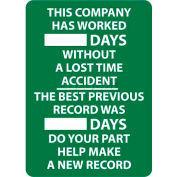 Write-On Scoreboard, This Company Has Worked Days Without A Lost Time Accident, 28 X 20, Wht/Grn