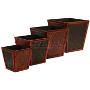 Nearly Natural Bamboo Square Decorative Planters (Set of 4)