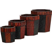 Nearly Natural Bamboo Octagon Decorative Planters (Set of 4)