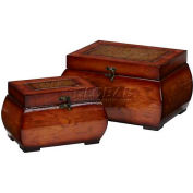 Nearly Natural Decorative Lacquered Wood Chests (Set of 2)