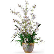 Nearly Natural Dancing Lady Silk Orchid Arrangement, White