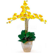 Nearly Natural Triple Phalaenopsis Silk Orchid Flower Arrangement, Yellow