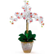 Nearly Natural Triple Phalaenopsis Silk Orchid Flower Arrangement, White