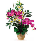Nearly Natural Double Phal/Dendrobium Silk Flower Arrangement, Orchid/Purple