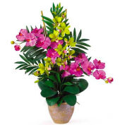 Nearly Natural Double Phal/Dendrobium Silk Flower Arrangement, Orchid/Green