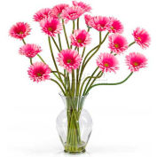 Nearly Natural Gerber Daisy Liquid Illusion Silk Flower Arrangement, Pink