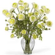 Nearly Natural Ranunculus Liquid Illusion Silk Flower Arrangement, Cream
