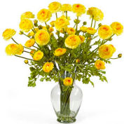 Nearly Natural Ranunculus Liquid Illusion Silk Flower Arrangement, Yellow