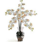 Nearly Natural Phalaenopsis Liquid Illusion Silk Flower Arrangement, Cream