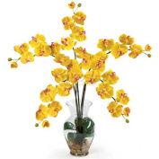 Nearly Natural Phalaenopsis Liquid Illusion Silk Flower Arrangement, Yellow