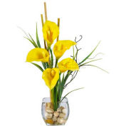 Nearly Natural Calla Lilly Liquid Illusion Silk Flower Arrangement, Yellow