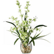 Nearly Natural Dancing Lady Orchid Liquid Illusion Silk Flower Arrangement, Green