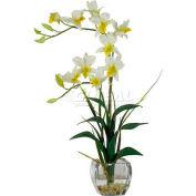 Nearly Natural Dendrobium with Glass Vase Silk Flower Arrangement, Cream