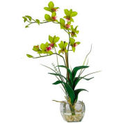 Nearly Natural Dendrobium with Glass Vase Silk Flower Arrangement, Green