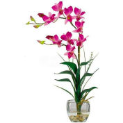 Nearly Natural Dendrobium with Glass Vase Silk Flower Arrangement, Purple