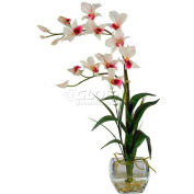 Nearly Natural Dendrobium with Glass Vase Silk Flower Arrangement, White
