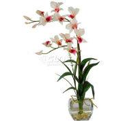 Nearly Natural Dendrobium with Glass Vase Silk Flower Arrangement, White