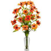 Nearly Natural Cosmos with Vase Silk Flower Arrangement, Orange