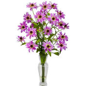 Nearly Natural Cosmos with Vase Silk Flower Arrangement, Purple