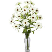 Nearly Natural Cosmos with Vase Silk Flower Arrangement, White
