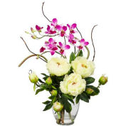 Nearly Natural Peony & Orchid Silk Flower Arrangement, White