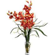 Nearly Natural Cymbidium Silk Flower Arrangement, Burgundy