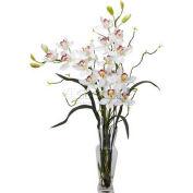 Nearly Natural Cymbidium Silk Flower Arrangement, White
