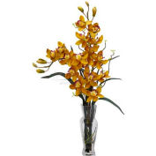 Nearly Natural Cymbidium Silk Flower Arrangement, Yellow