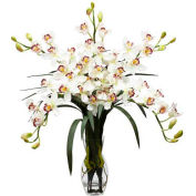 Nearly Natural Cymbidium Orchid Silk Flower Arrangement, White