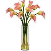 Nearly Natural Mini Calla Lily Silk Flower Arrangement, Pink
