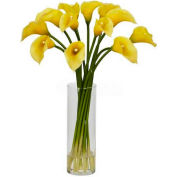 Nearly Natural Mini Calla Lily Silk Flower Arrangement, Yellow