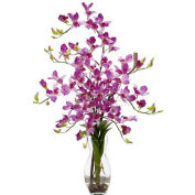 Nearly Natural Dendrobium with Vase Silk Flower Arrangement, Purple