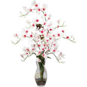 Nearly Natural Dendrobium with Vase Silk Flower Arrangement, White