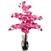 Nearly Natural Phalaenopsis with Vase Silk Flower Arrangement, Dark Pink