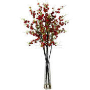 Nearly Natural Cherry Blossoms with Vase Silk Flower Arrangement, Red