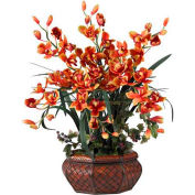 Nearly Natural Large Cymbidium Silk Flower Arrangement, Burgundy
