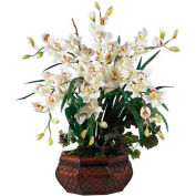 Nearly Natural Large Cymbidium Silk Flower Arrangement, White