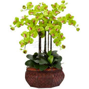Nearly Natural Large Phalaenopsis Silk Flower Arrangement, Green
