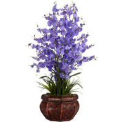 Nearly Natural Dancing Lady Silk Flower Arrangement, Purple