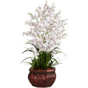 Nearly Natural Dancing Lady Silk Flower Arrangement, White