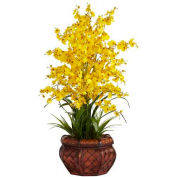 Nearly Natural Dancing Lady Silk Flower Arrangement, Yellow