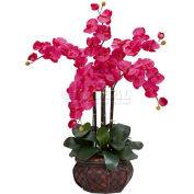 Nearly Natural Phalaenopsis with Decorative Vase Silk Flower Arrangement, Beauty