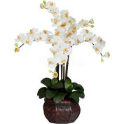 Nearly Natural Phalaenopsis with Decorative Vase Silk Flower Arrangement, Cream