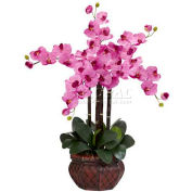 Nearly Natural Phalaenopsis with Decorative Vase Silk Flower Arrangement, Mauve