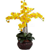 Nearly Natural Phalaenopsis with Decorative Vase Silk Flower Arrangement, Yellow