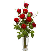 Nearly Natural Rose with Vase Silk Flower Arrangement