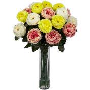 Nearly Natural Fancy Rose Silk Flower Arrangement, Assorted Pastels