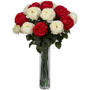 Nearly Natural Fancy Rose Silk Flower Arrangement, Red/White