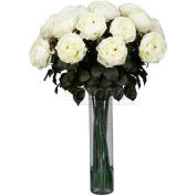Nearly Natural Fancy Rose Silk Flower Arrangement, White